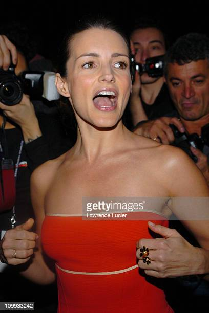 Kristin Davis during Olympus Fashion Week 2004 Narciso Rodriguez Front Row at Bryant Park in New York City New York United States