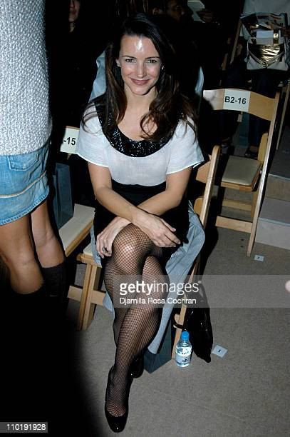 Kristin Davis during Olympus Fashion Week Fall 2004 John Varvatos Front Row at The Promenade at Bryant Park in New York City New York United States