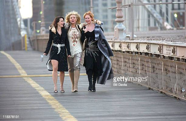 Kristin Davis Kim Cattrall and Cynthia Nixon during Sex and the City Promo Shoot at Brooklyn New York in New York NY United States