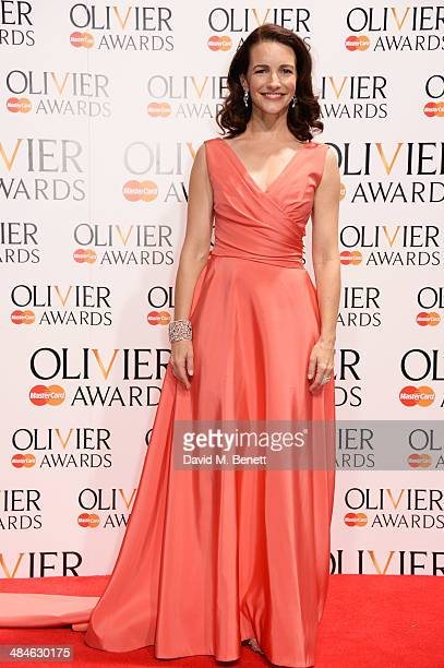 Kristin Davis poses in the press room at the Laurence Olivier Awards at The Royal Opera House on April 13 2014 in London England
