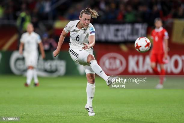 Kristin Demann controls the ball during the Group B match between Russia and Germany during the UEFA Women's Euro 2017 at Stadion Galgenwaard on July...