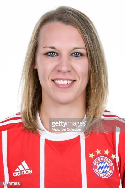 Kristin Demann of Bayern Muenchen poses during the Allianz Frauen Bundesliga Club Tour at FC Bayern Muenchen Campus on August 20 2017 in Munich...