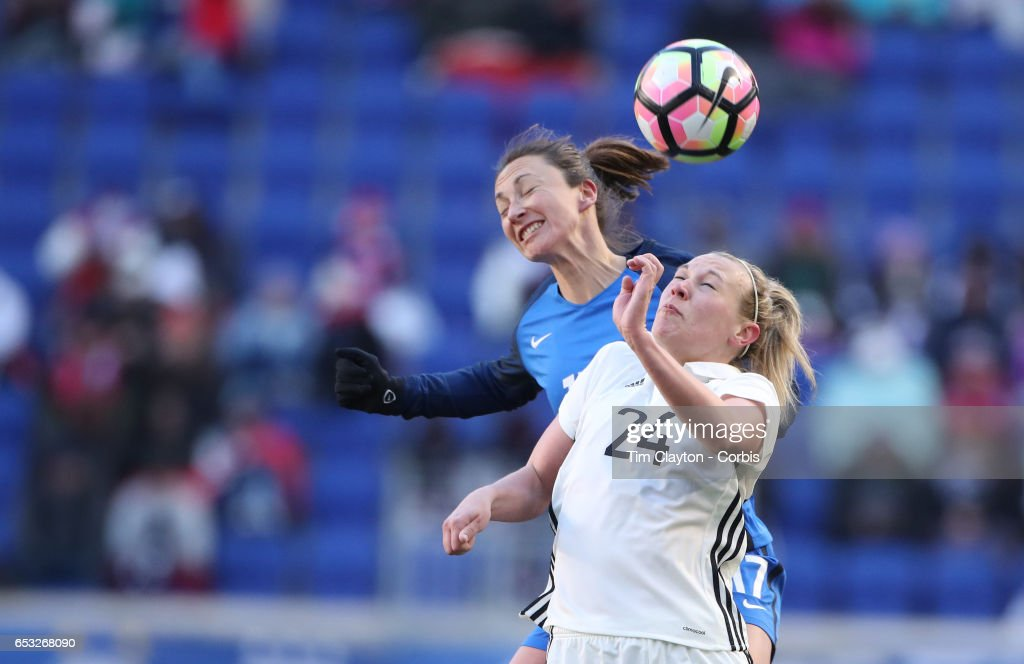 Kristin Demann #24 of Germany challenged by Gaëtane Thiney #17 of France during the France Vs Germany SheBelieves Cup International match at Red Bull Arena on March 4, 2017 in Harrison, New Jersey.