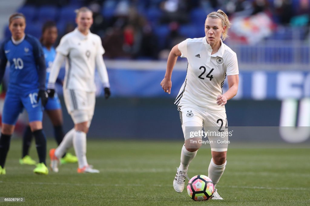 Kristin Demann #24 of Germany in action during the France Vs Germany SheBelieves Cup International match at Red Bull Arena on March 4, 2017 in Harrison, New Jersey.