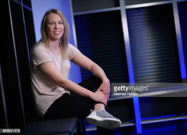 Kristin Demann of Germany poses for a portrait during the DFB Ladies Marketing Day at Commerzbank Arena on April 3 2017 in Frankfurt am Main Germany