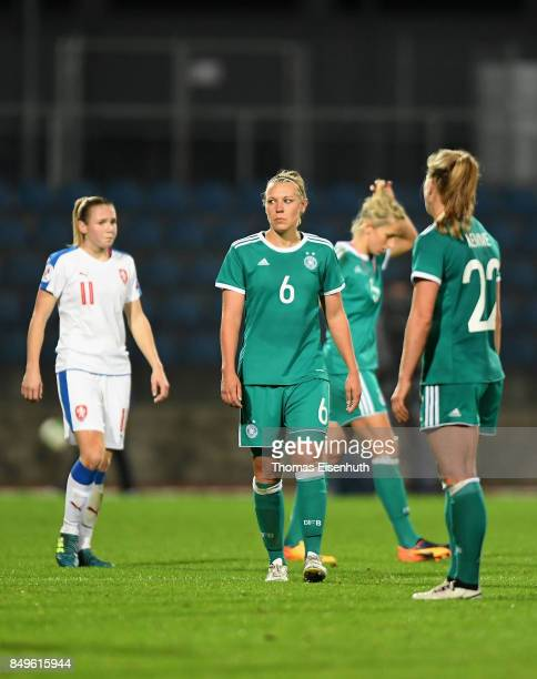 Kristin Demann of Germany reacts after the 2019 FIFA Women's World Championship Qualifier match between Czech Republic Women's and Germany Women's at...