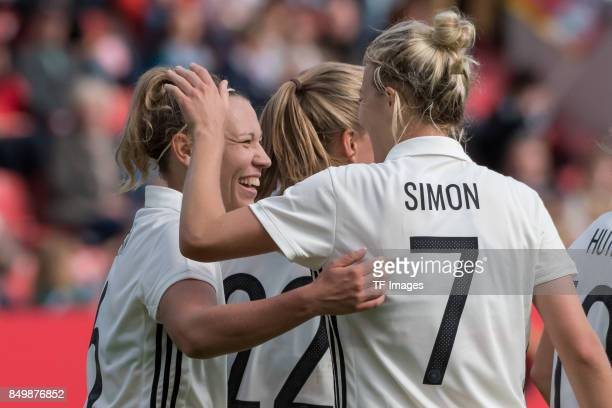 Kristin Demann of Germany Tabea Kemme of Germany Carolin Simon of Germany celebrate a goal during the 2019 FIFA women's World Championship qualifier...