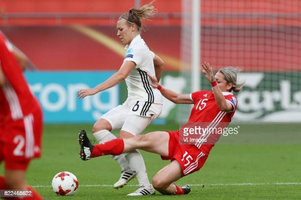 Kristin Demann of Germany women Elena Danilova of Russia women during the UEFA WEURO 2017 Group B group stage match between Russia and Germany at the...