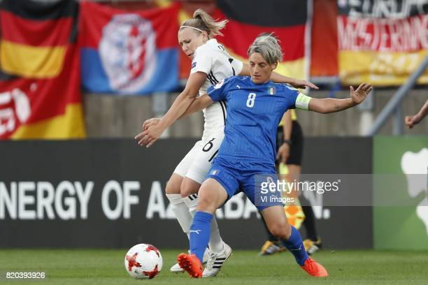 Kristin Demann of Germany women Melania Gabbiadini of Italy Women during the UEFA WEURO 2017 Group B group stage match between Germany and Italy at...