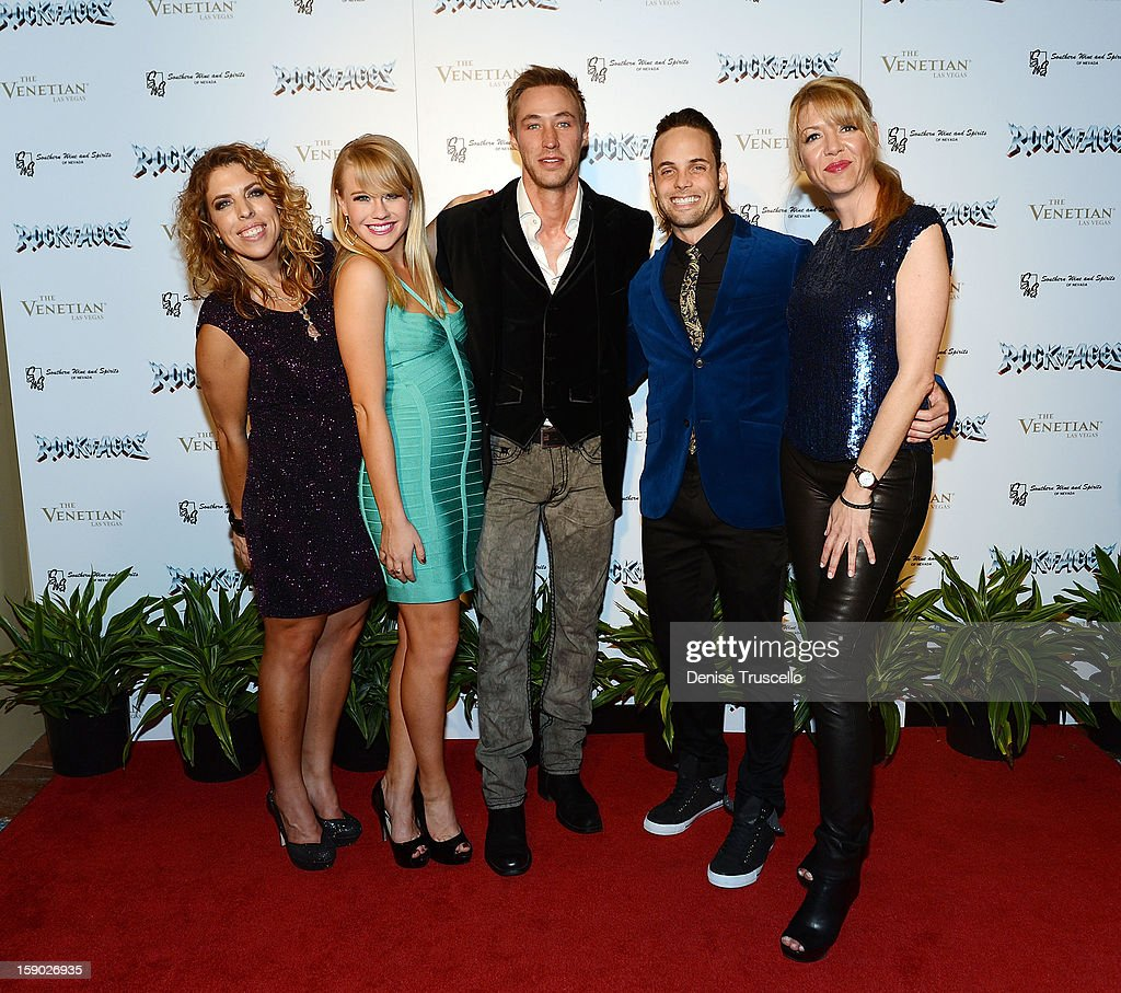 Kristin Hanggi, Carrie St. Louis, Kyle Lowder, Justin Mortelliti and Kelly Devine arrive at the Rock of Ages after party at The Venetian on January 5, 2013 in Las Vegas, Nevada.