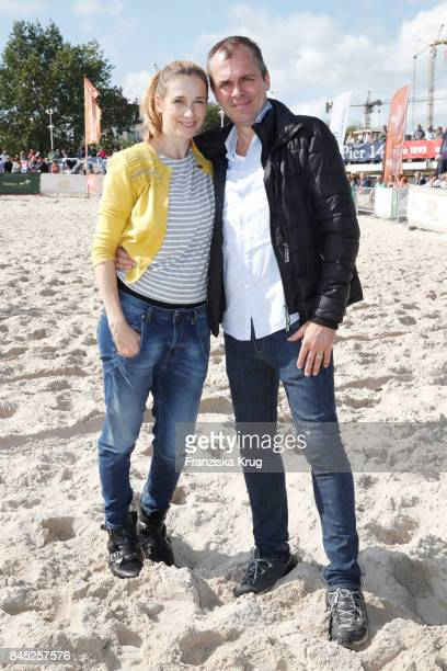 Kristin Meyer and her husband Patrick Winczewski attend the Till Demtroeders CharityEvent 'Usedom Cross Country' at Seebruecke Ahlbeck on September...