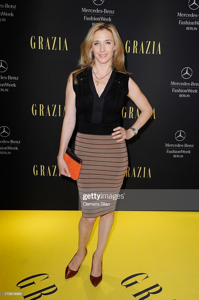 Kristin Meyer attends the Mercedes-Benz Fashion Week Berlin Spring/Summer 2014 Preview Show by Grazia at the Brandenburg Gate on July 1, 2013 in Berlin, Germany.