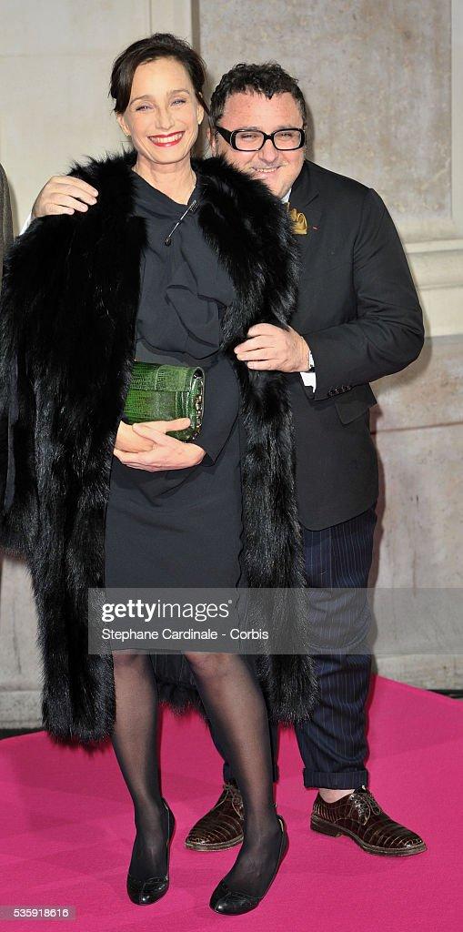 Kristin Scott Thomas and Alber Elbaz attend Christmas Illuminations Launch at the Printemps Store in Paris.