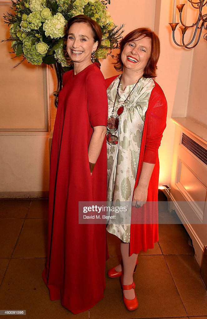 Kristin Scott Thomas and Clare Stewart attend the BFI London Film Festival Awards at Banqueting House on October 17, 2015 in London, England.