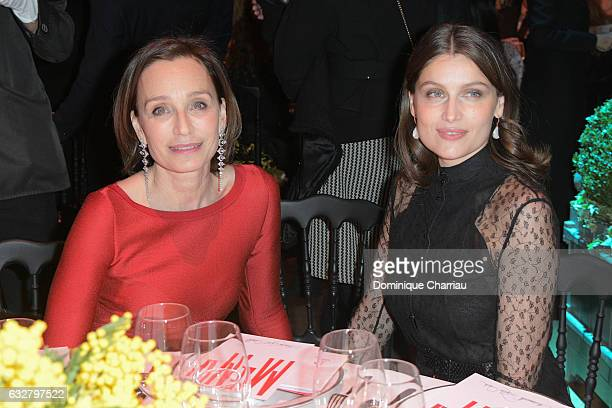 Kristin Scott Thomas and Laetitia Casta attend the Sidaction Gala Dinner 2017 as part of Paris Fashion Week on January 26 2017 in Paris France