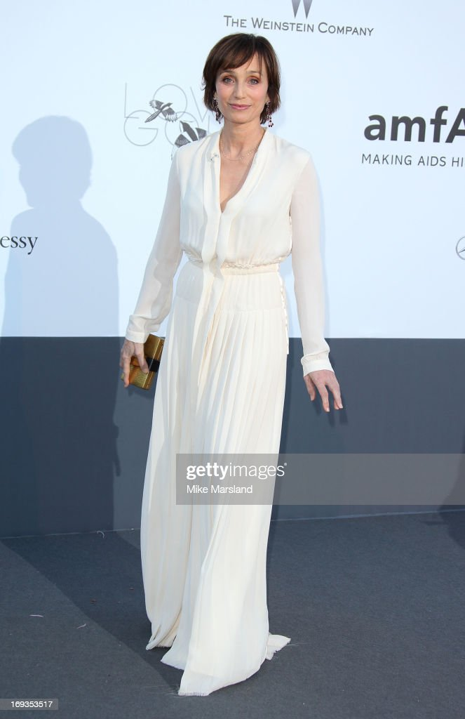 Kristin Scott Thomas arrives at amfAR's 20th Annual Cinema Against AIDS at Hotel du Cap-Eden-Roc on May 23, 2013 in Cap d'Antibes, France.