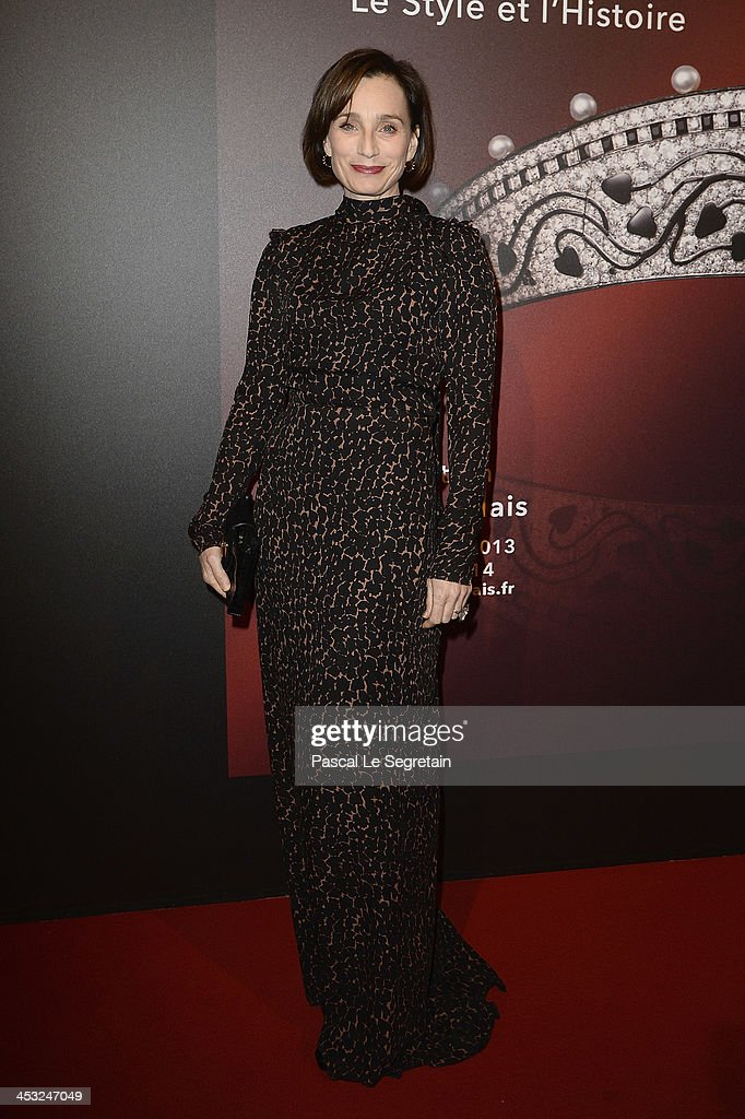 Kristin Scott Thomas arrives at the 'Cartier: Le Style et L'Histoire' Exhibition Private Opening at Le Grand Palais on December 2, 2013 in Paris, France.