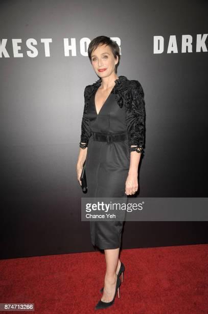Kristin Scott Thomas attends 'Darkest Hour' New York premiere at Paris Theatre on November 15 2017 in New York City