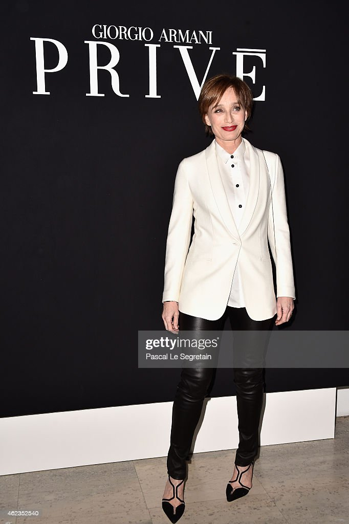 Kristin Scott Thomas attends the Giorgio Armani Prive show as part of Paris Fashion Week Haute Couture Spring/Summer 2015 on January 27 2015 in Paris...
