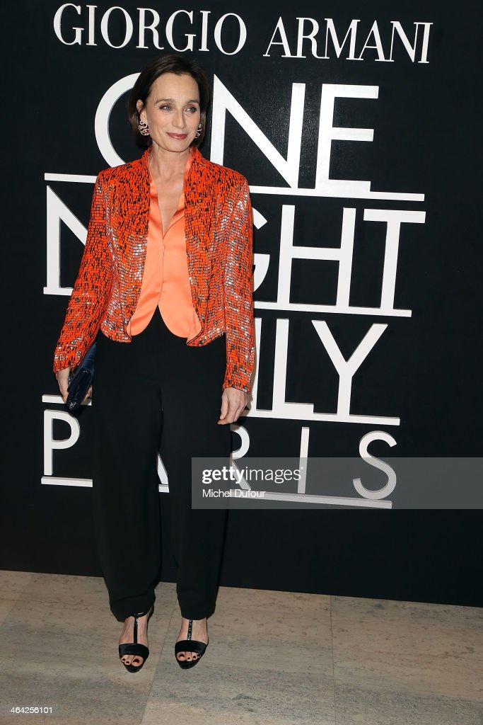 <a gi-track='captionPersonalityLinkClicked' href=/galleries/search?phrase=Kristin+Scott+Thomas&family=editorial&specificpeople=203290 ng-click='$event.stopPropagation()'>Kristin Scott Thomas</a> attends the Giorgio Armani Prive show as part of Paris Fashion Week Haute Couture Spring/Summer 2014 on January 21, 2014 in Paris, France.