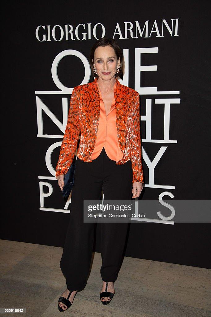 Kristin Scott Thomas attends the Giorgio Armani Prive show as part of Paris Fashion Week Haute Couture Spring/Summer 2014, at Palais de tokyo in Paris.