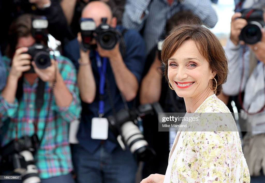 <a gi-track='captionPersonalityLinkClicked' href=/galleries/search?phrase=Kristin+Scott+Thomas&family=editorial&specificpeople=203290 ng-click='$event.stopPropagation()'>Kristin Scott Thomas</a> attends the photocall for 'Only God Forgives' at The 66th Annual Cannes Film Festival on May 22, 2013 in Cannes, France.