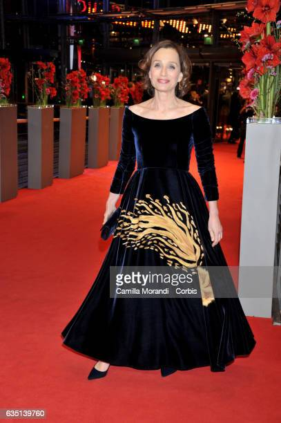 Kristin Scott Thomas attends the 'The Party' premiere during the 67th Berlinale International Film Festival Berlin at Berlinale Palace on February 13...