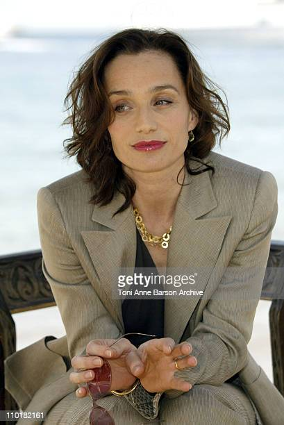 Kristin Scott Thomas during 2003 Cannes Film Festival Kristin Scott Thomas Photo Call at Man Ray Beach in Cannes France