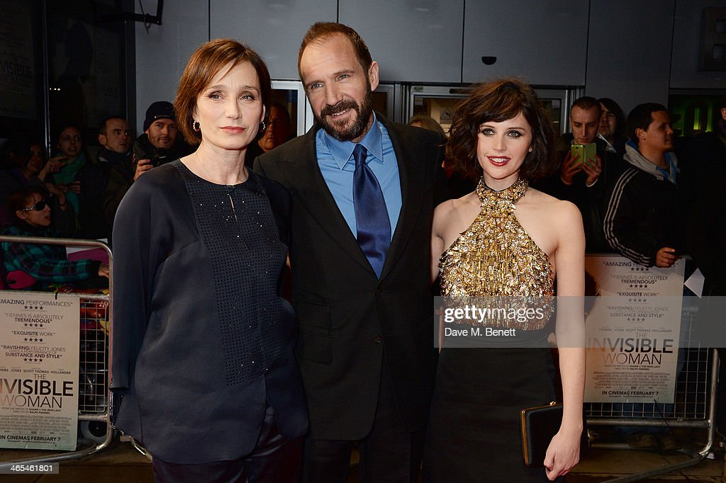 Kristin Scott Thomas, Ralph Fiennes and Felicity Jones attend the UK Premiere of 'The Invisible Woman' at the ODEON Kensington on January 27, 2014 in London, England.