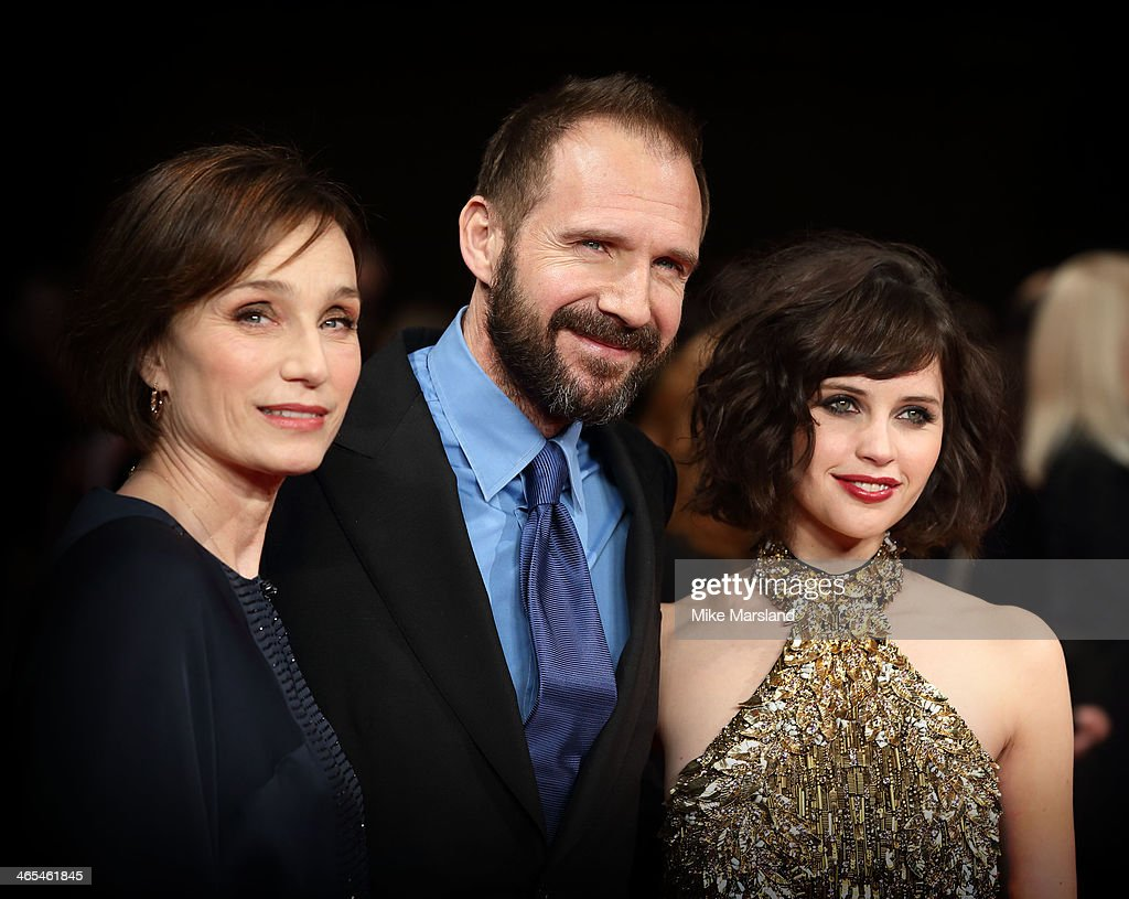 Kristin Scott Thomas Ralph Fiennes and Felicity Jones attend the UK Premiere of 'The Invisible Woman' at ODEON Kensington on January 27 2014 in...