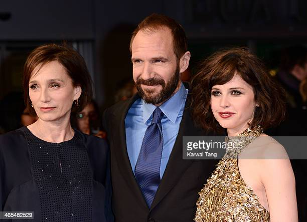 Kristin Scott Thomas Ralph Fiennes and Felicity Jones attend the UK Premiere of 'The Invisible Woman' at the ODEON Kensington on January 27 2014 in...