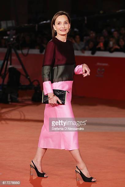 Kristin Scott Thomas walks a red carpet for 'The English Patient Il Paziente Inglese' during the 11th Rome Film Festival at Auditorium Parco Della...