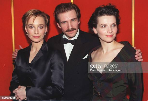 Kristin ScottThomas Ralph Fiennes and Juliette Binoche prepare to leave for this evening's premiere of the Oscarnominated film The English Patient...