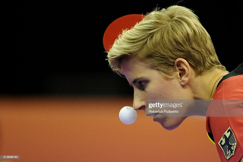 Kristin Silbereisen of Germany competes against Ai Fukuhara of Japan during the 2016 World Table Tennis Championship Women's Team Division quarter-final match at Malawati Stadium on March 3, 2016 in Shah Alam, Malaysia.