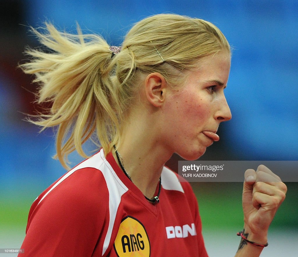 Kristin Silbereisen of Germany reacts during the women's semi final against Yuegu Wang of Singapore at the 2010 World Team Table Tennis Championships in Moscow on May 29, 2010.