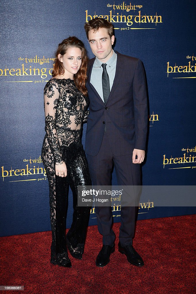 Kristin Stewart and <a gi-track='captionPersonalityLinkClicked' href=/galleries/search?phrase=Robert+Pattinson&family=editorial&specificpeople=734445 ng-click='$event.stopPropagation()'>Robert Pattinson</a> attend the UK Premiere of 'The Twilight Saga: Breaking Dawn - Part 2' at Odeon Leicester Square on November 14, 2012 in London, England.