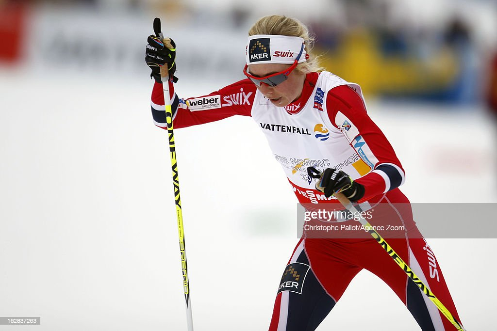 <a gi-track='captionPersonalityLinkClicked' href=/galleries/search?phrase=Kristin+Stoermer+Steira&family=editorial&specificpeople=4137577 ng-click='$event.stopPropagation()'>Kristin Stoermer Steira</a> of Norway takes the gold medal during the FIS Nordic World Ski Championships Cross Country Women's Relay on February 28, 2013 in Val di Fiemme, Italy.