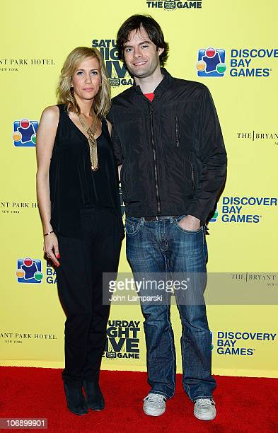 Kristin Wiig and Bill Hader attend the launch party for 'Saturday Night Live The Game' at Bryant Park Hotel Cellar Bar on November 15 2010 in New...