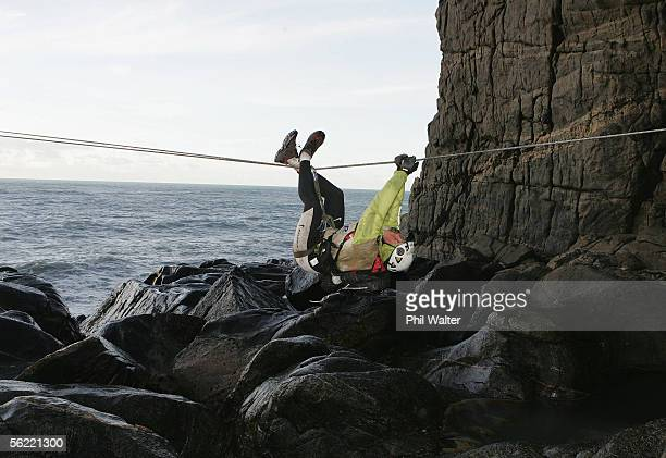 Kristina Anglem from the New Zealand team Balance Vector rock climbs on the Charleston Clifts overlooking the Tasman Sea on the fifth day of the...