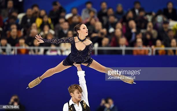 Kristina Astakhova and Alexei Rogonov of Russia perform during the pairs short program of the 2015 ISU World Figure Skating Championships at Shanghai...