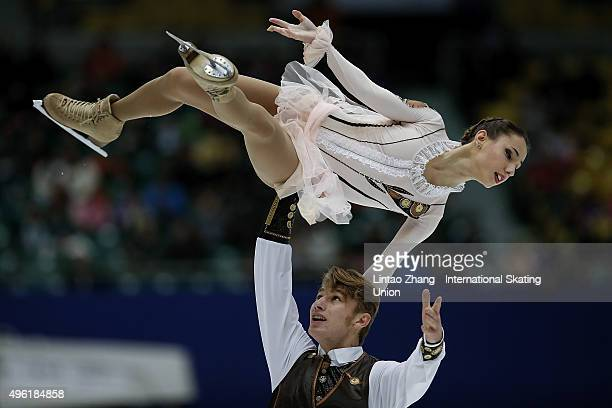 Kristina Astakhova and Alexi Rogonov of Russia perform during the Pairs Short Program on day two of Audi Cup of China ISU Grand Prix of Figure...