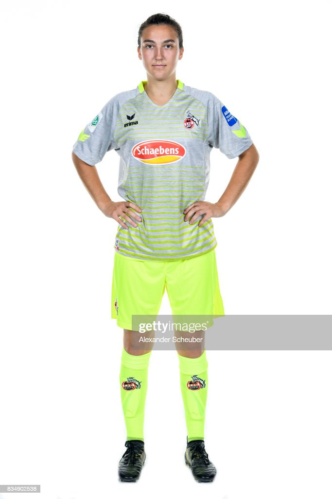 Kristina Bartsch of 1. FC Koeln poses during the Allianz Frauen Bundesliga Club Tour at on August 16, 2017 in Cologne, Germany.