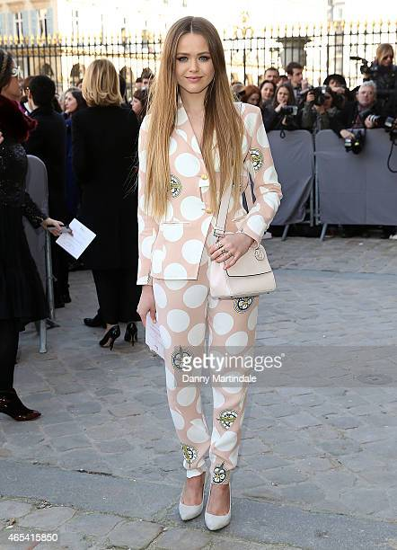 Kristina Bazan attends the Christian Dior show at the Cour Carre Muse Du Louvre during Paris Fashion Week Fall Winter 2015/2016 on March 6 2015 in...