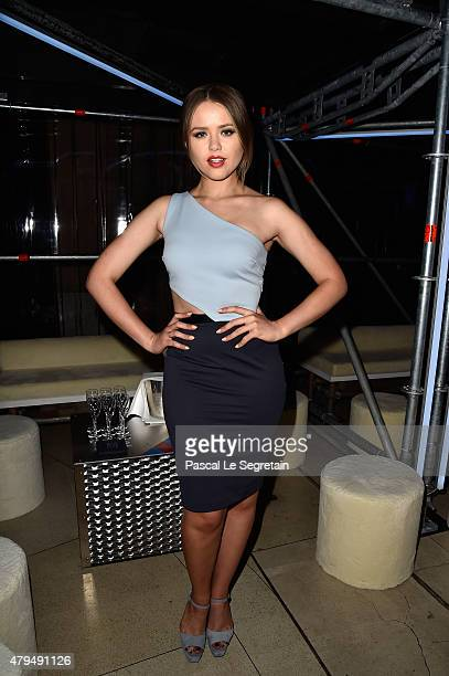 Kristina Bazan attends the Miu Miu Club launch of the first Miu Miu fragrance and croisiere 2016 collection at Palais d'Iena on July 4 2015 in Paris...
