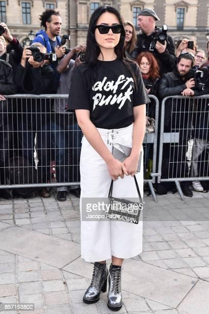 Kristina Bazan is seen arriving at Louis Vuitton show during Paris Fashion Week Womenswear Spring/Summer 2018 on October 3 2017 in Paris France