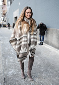 Kristina Bazan is seen outside the DVF show on February 15 2015 in New York City