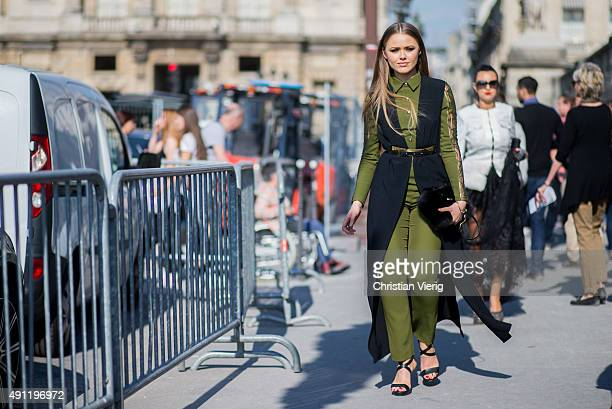 Kristina Bazan wearing Elie Saab during the Paris Fashion Week Womenswear Spring/Summer 2016 on October 3 2015 in Paris France