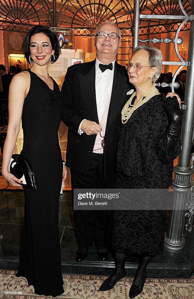 Kristina Blahnik, Manolo Blahnik and Evangelina Blahnik attend a drinks reception at the British Fashion Awards 2012 at The Savoy Hotel on November 27, 2012 in London, England.