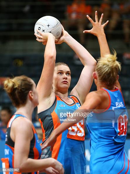 Kristina Brice of Canberra shoots for goal during round one of the ANL match between Canberra Giants and Netball NSW Waratahs at Sydney Olympic Park...