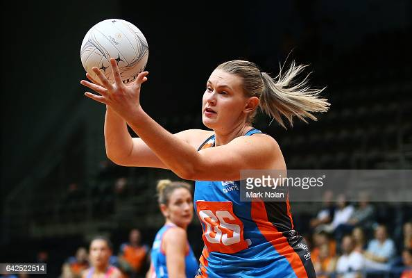 Kristina Brice of Canberra takes a pass during round one of the ANL match between Canberra Giants and Netball NSW Waratahs at Sydney Olympic Park...